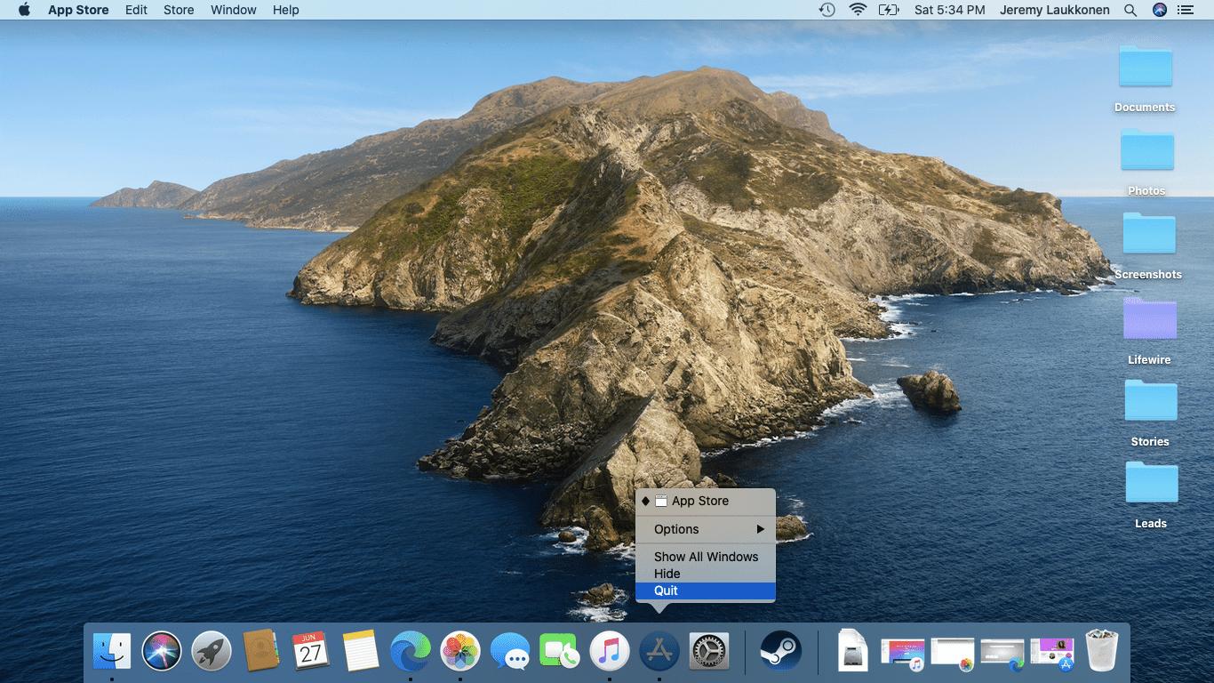 A screenshot of closing an app on a Mac.