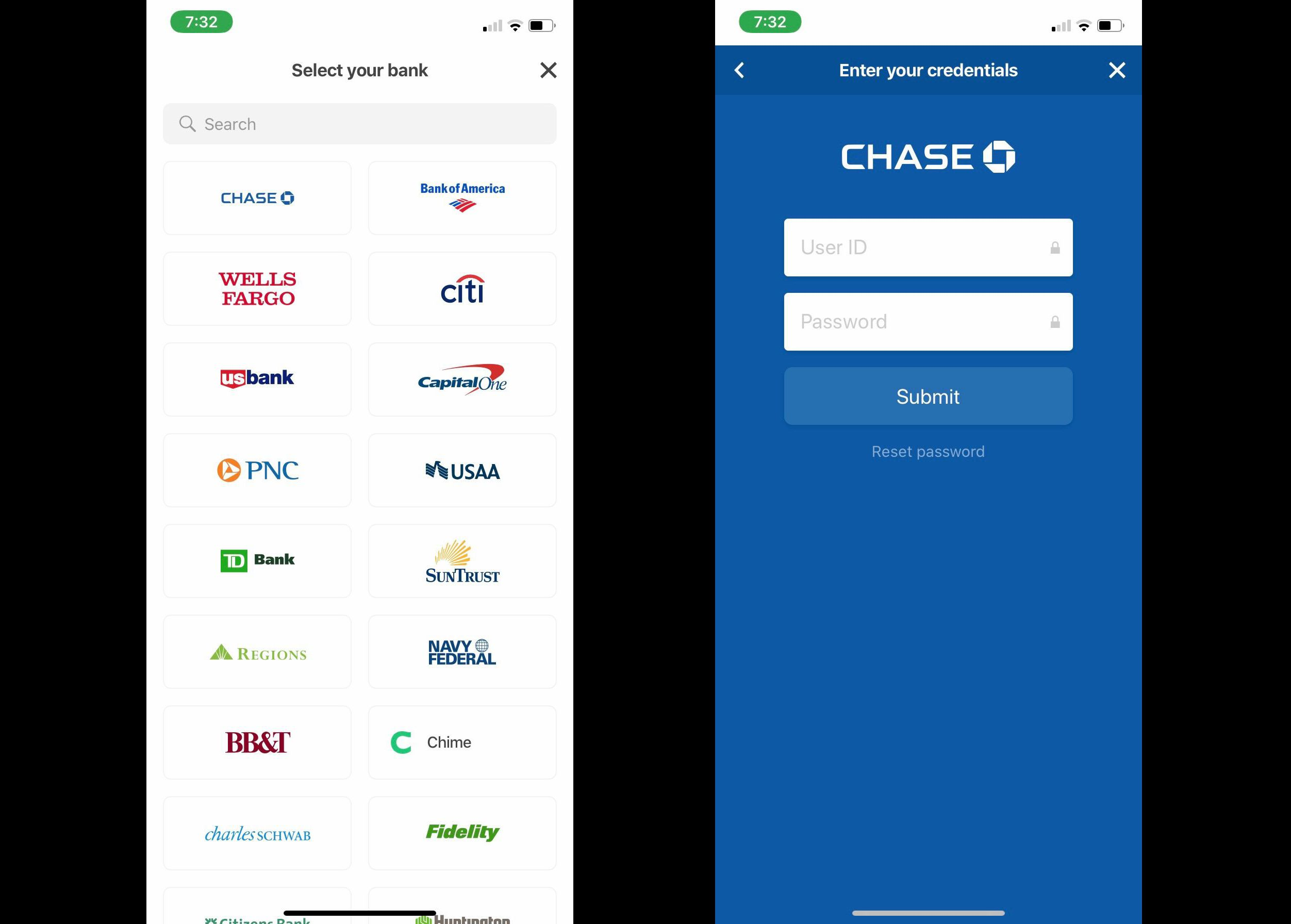 Select Your Bank in Cash App