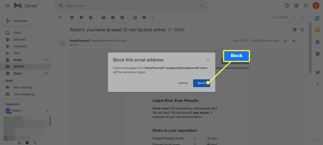 Block this email address confirmation dialog highlighting the Block button