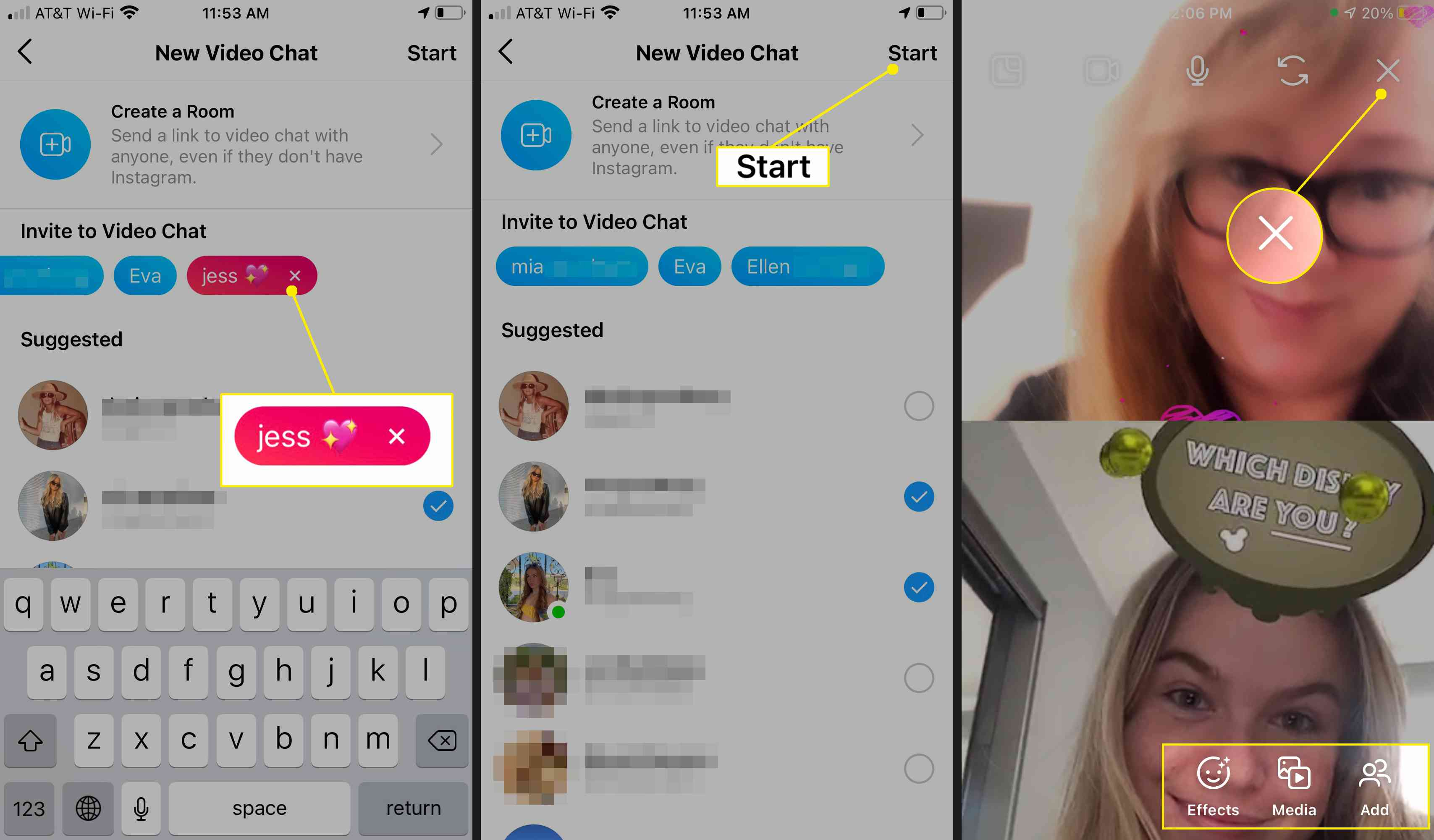 Remove participants, then start and end an Instagram video chat