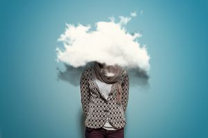 A person with their head in the clouds