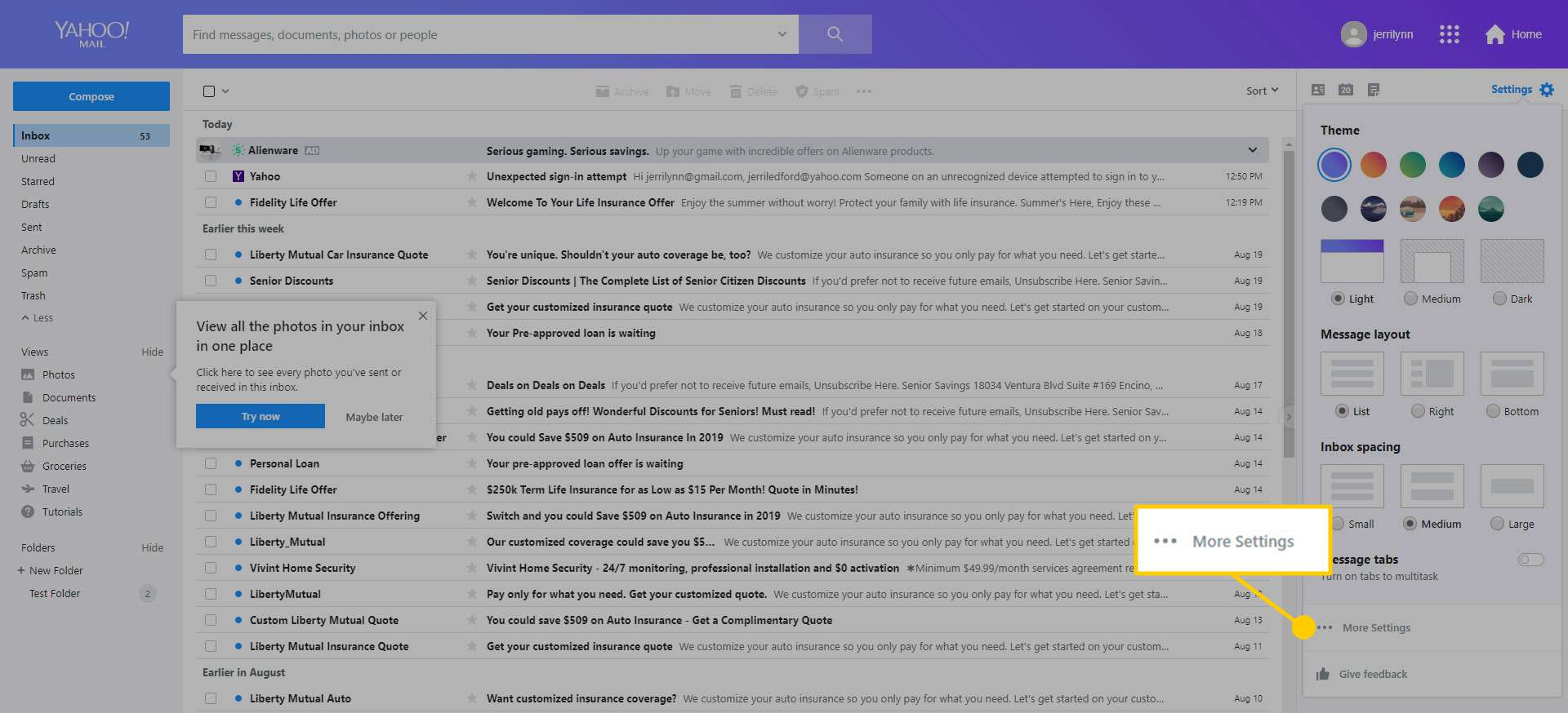 A screenshot of the More Settings option in Yahoo! Mail
