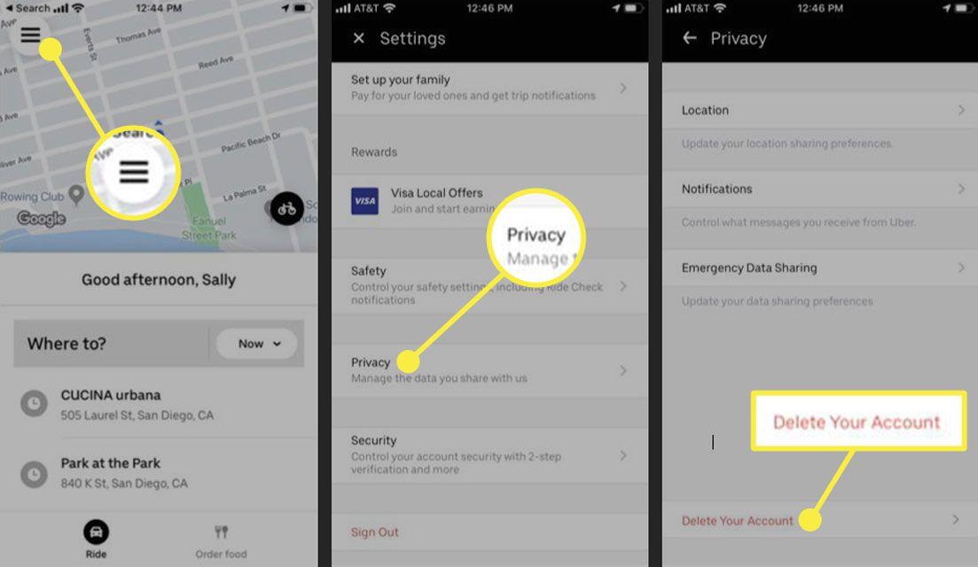 Screenshots of the Uber app settings with the Delete Your Account option highlighted
