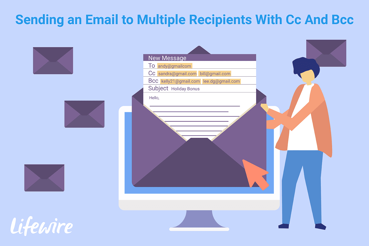 An an email with multiple recipients.