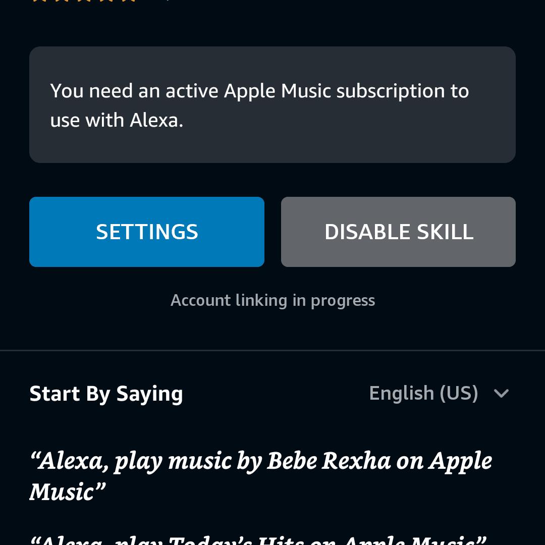 Settings highlighted in the Apple Music Alexa skill.