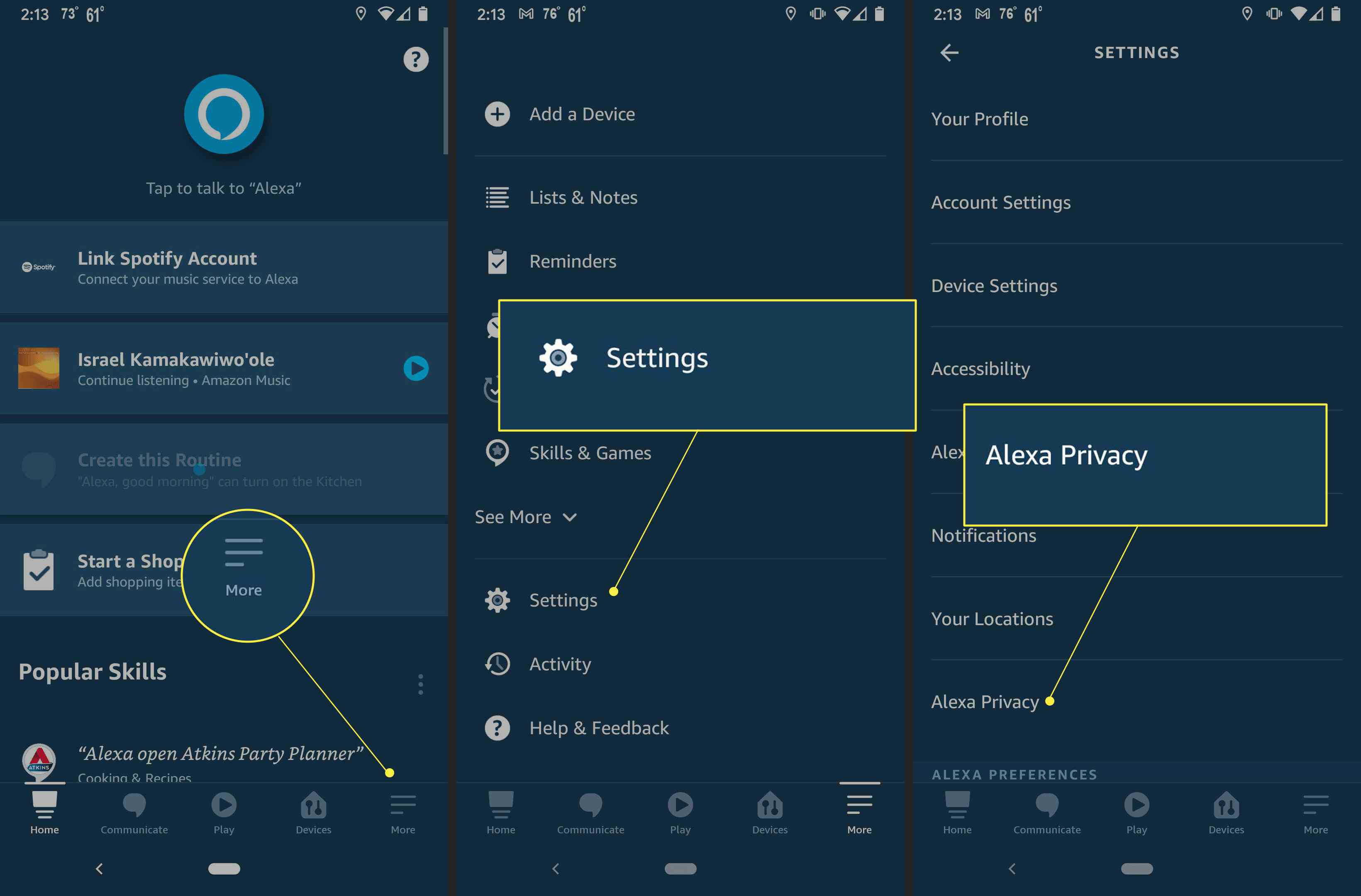 Steps to take to get to Alexa's privacy settings, with