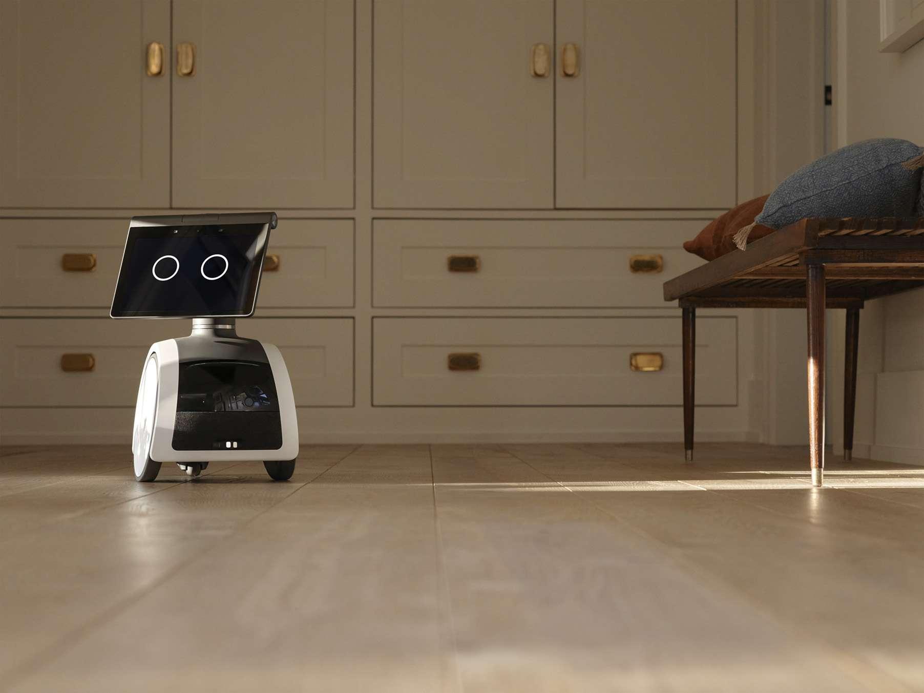 The Amazon Astro robot patrolling a home.