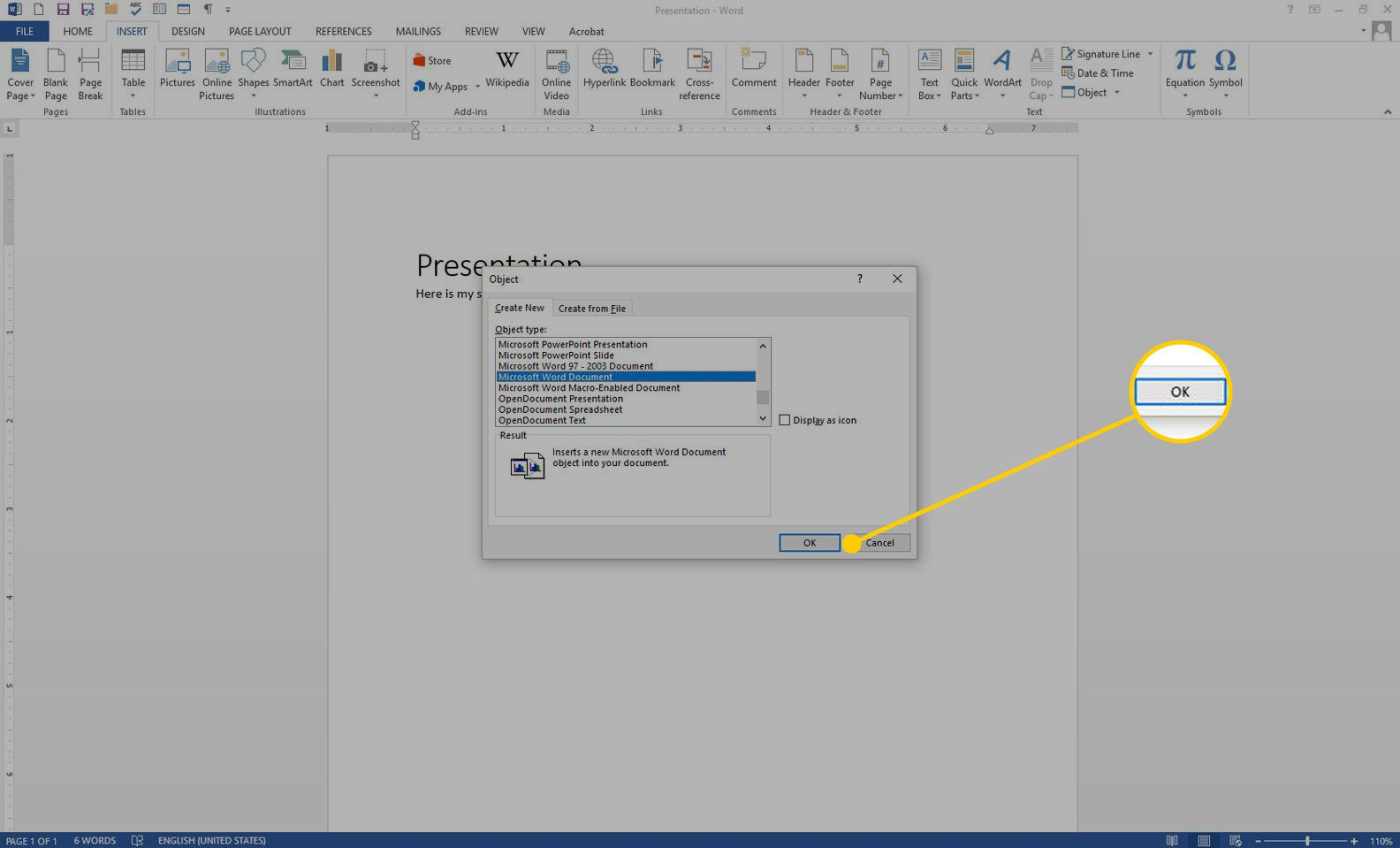 Create New Object window in Word with the OK button highlighted