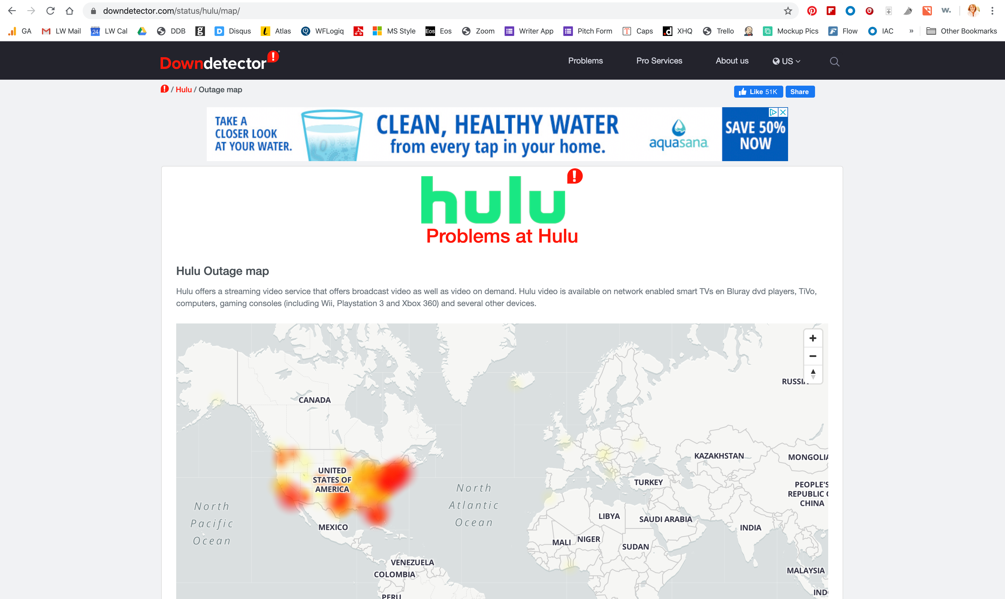 Screenshot of the Hulu Live Outtage Map on Downdetector.com.