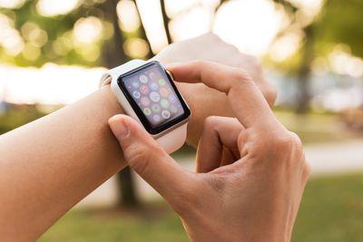 Woman wearing Apple Watch