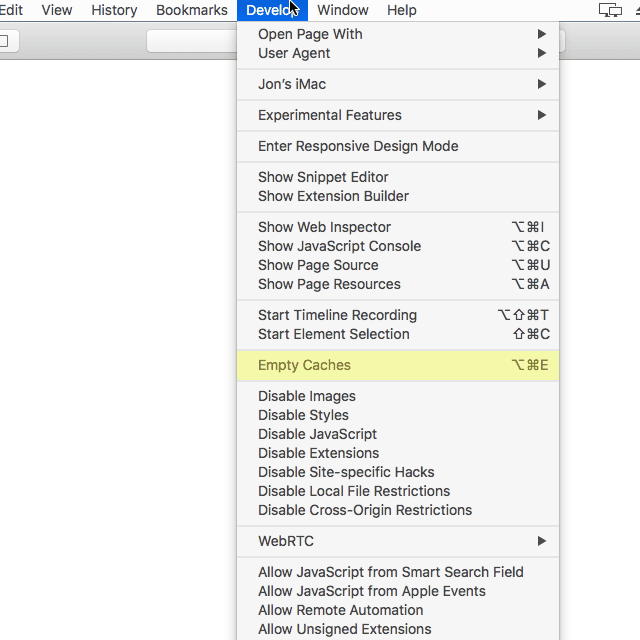 Screenshot of the Empty Caches option in Safari