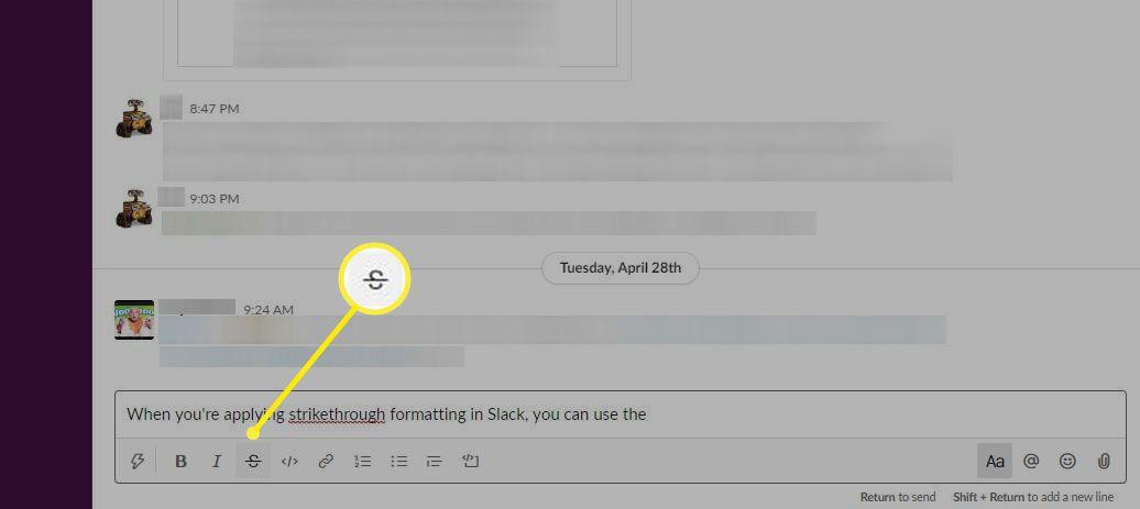 The Strikethrough Button in Slack's Text Formatting Bar