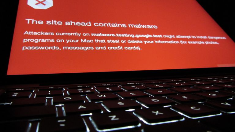 A malware alert on a laptop