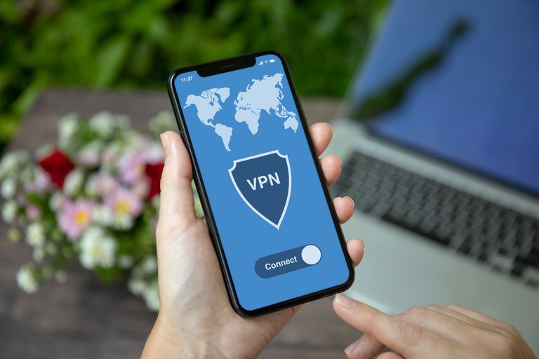 Phone with VPN app on display