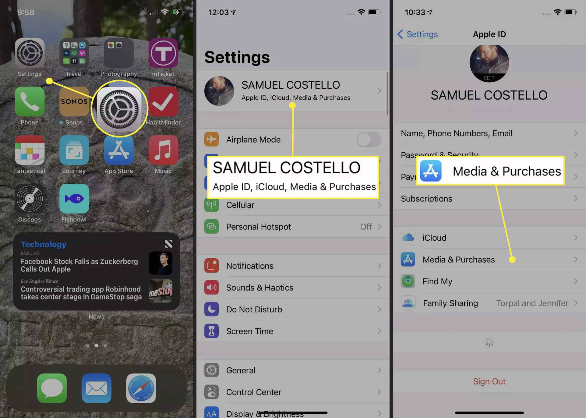 An iPhone user accesses their media and purchases within the Settings app