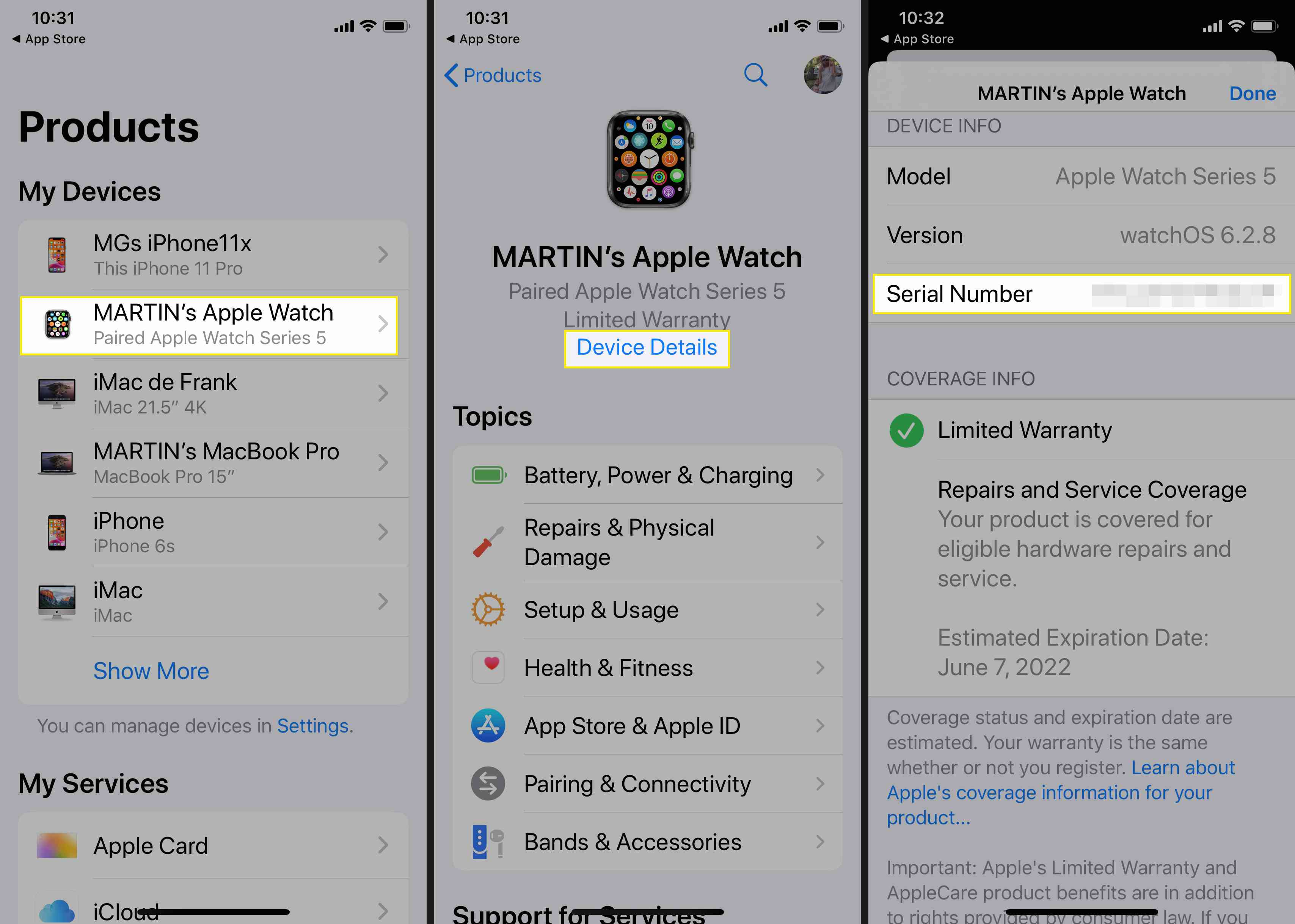 Use the Apple Support app to locate your Apple Watch serial number