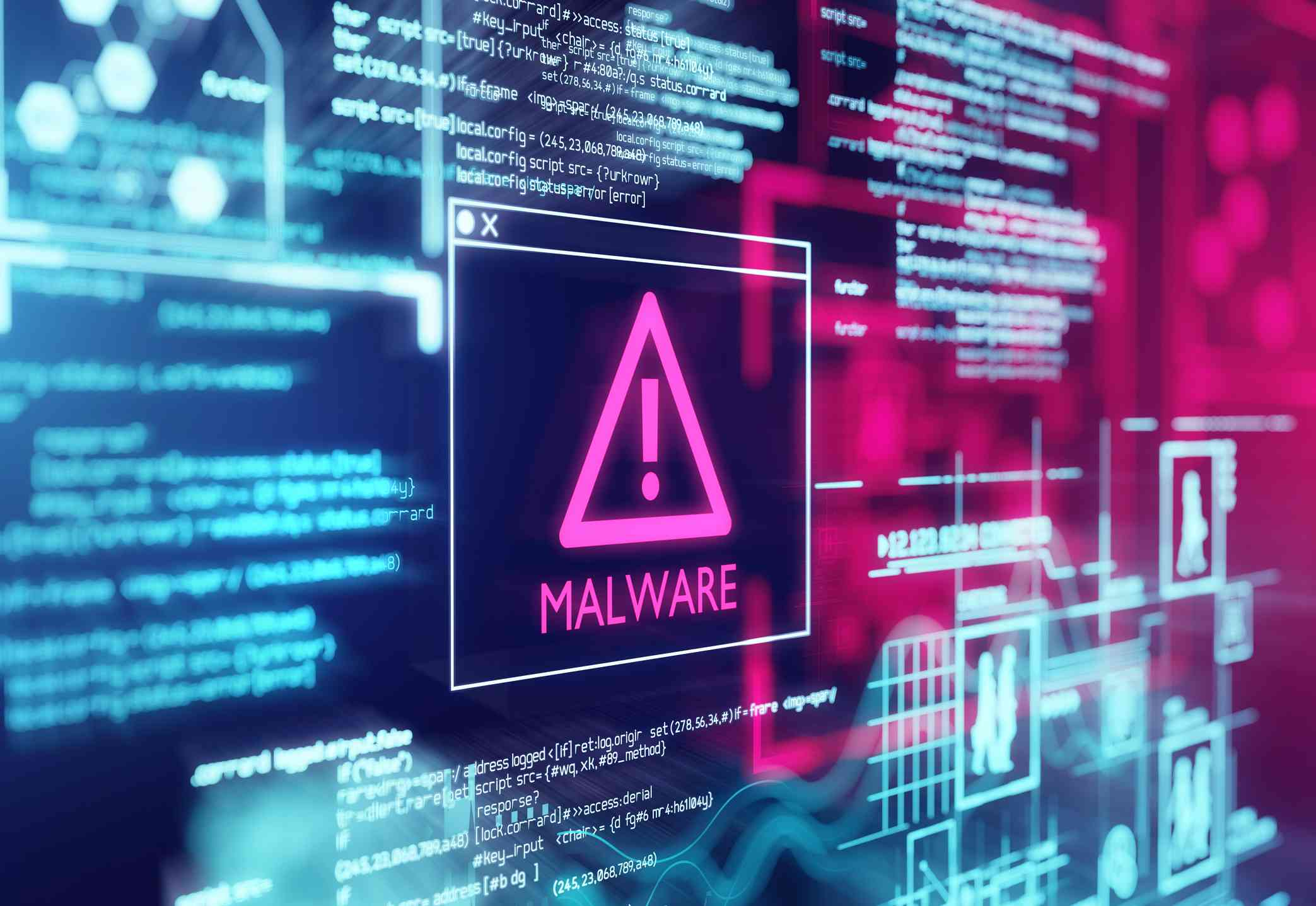 A computer screen with program code warning of a detected malware script program