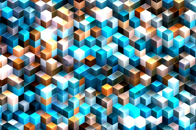 Abstract background of multi-colored cubes representing bytes of data