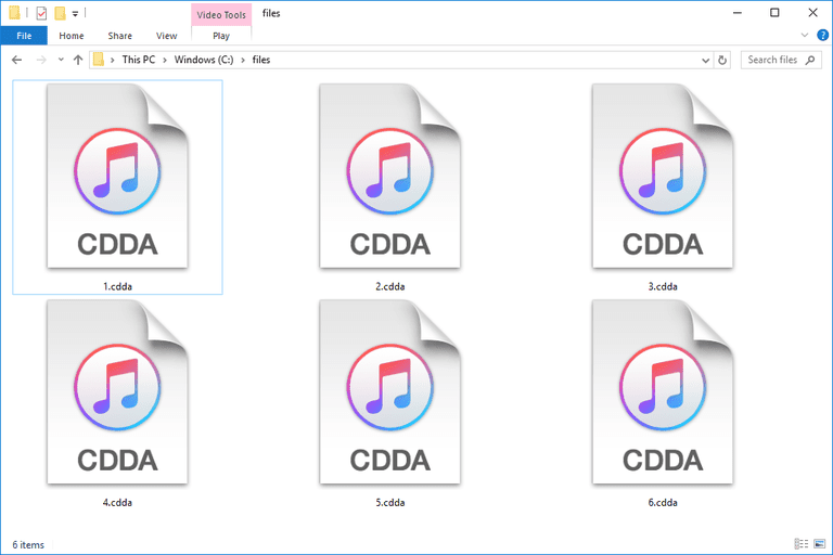 Screenshot of several CDDA files in Windows 10