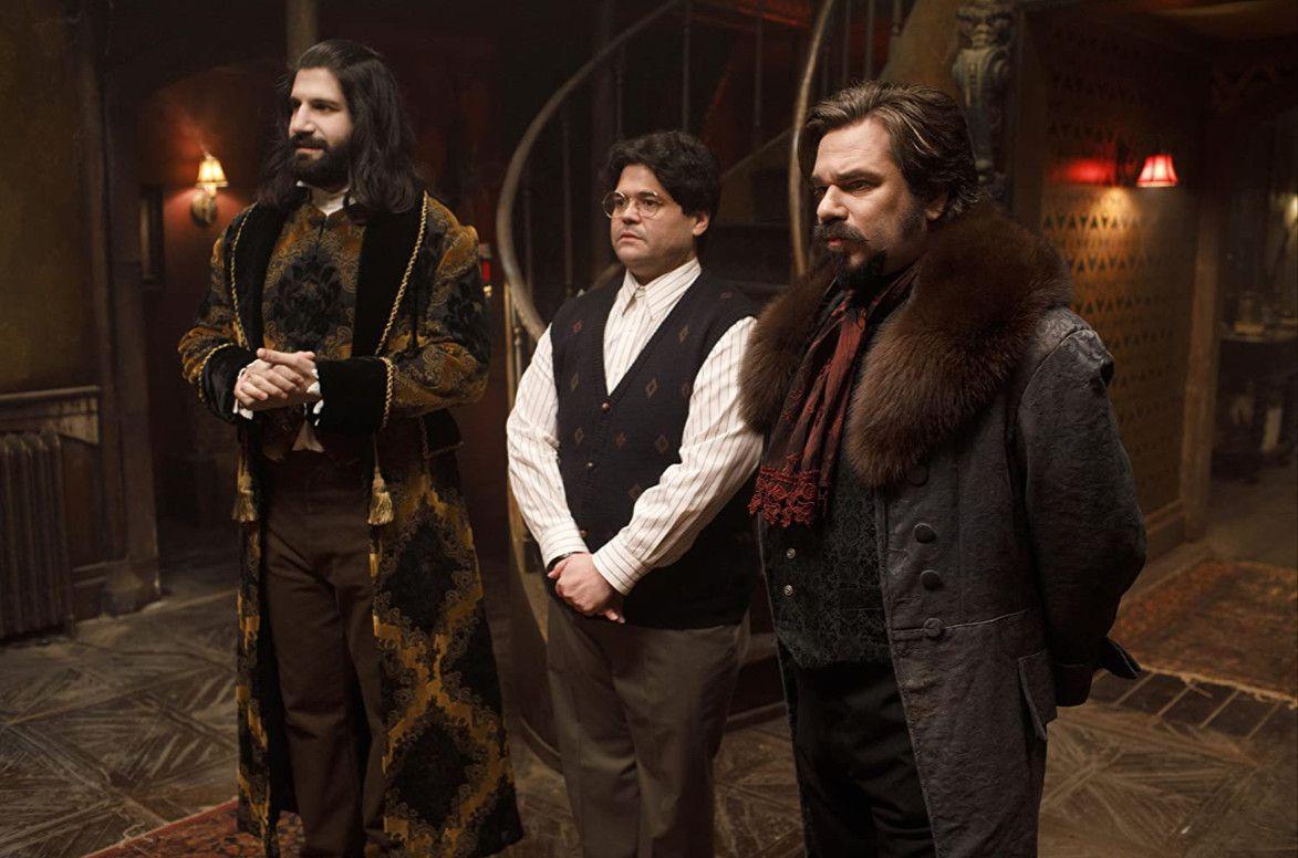 Kayvan Novak, Matt Berry, and Harvey Guillén in 'What We Do in the Shadows'