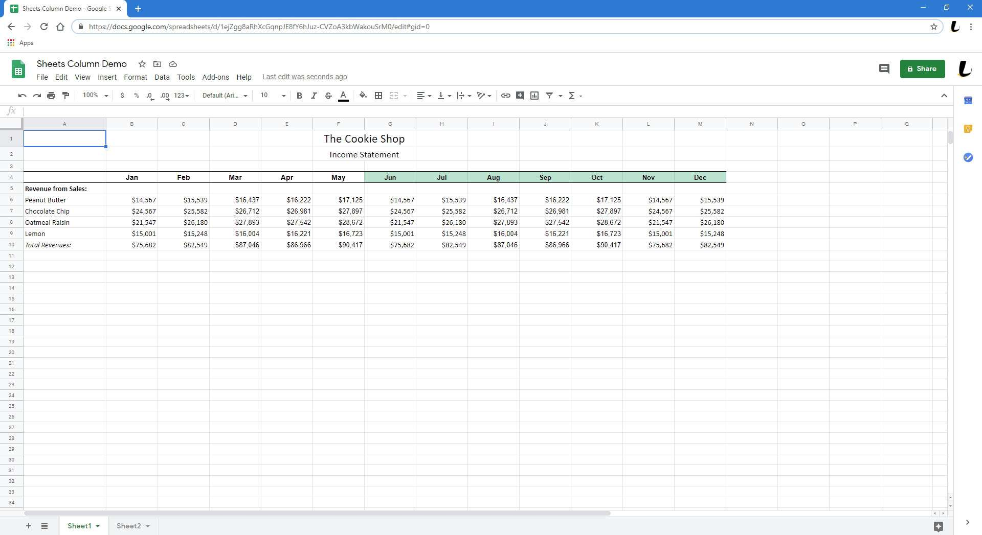 Another spreadsheet in Sheets.
