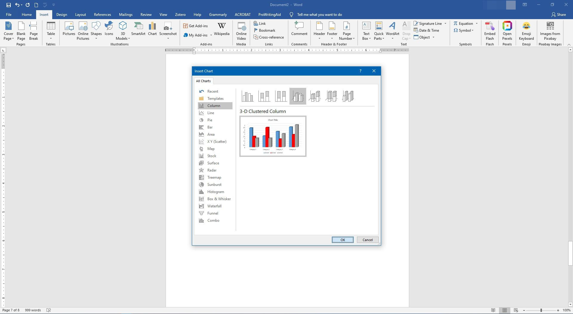 Changing options for a chart in Microsoft Word.