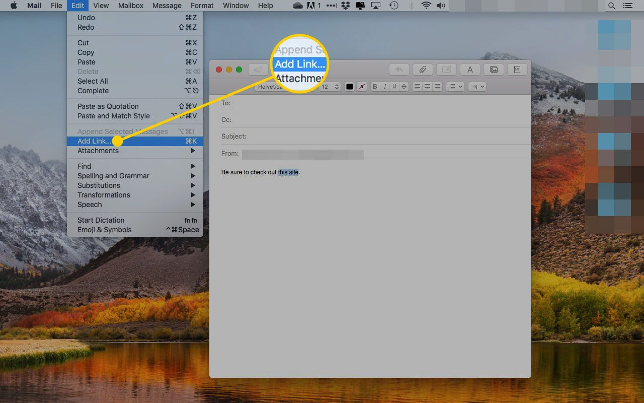 The Add Link option under the Edit menu in macOS Mail
