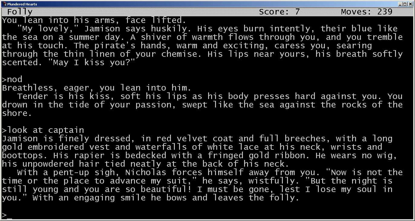 The text adventure game Plundered Hearts