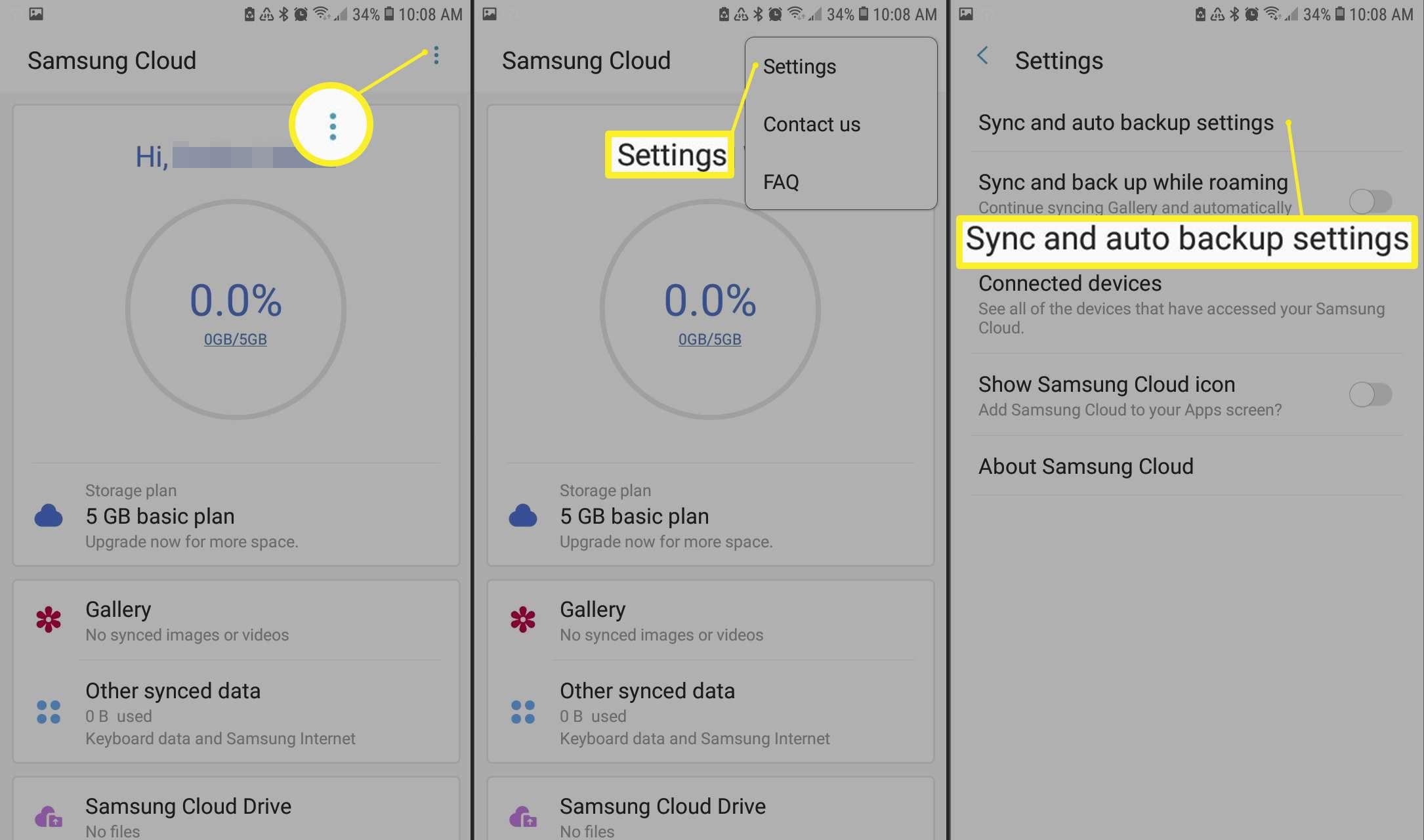 Menu > Settings > Sync and auto backup settings