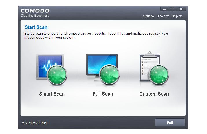 Screenshot of Comodo Cleaning Essentials in Windows 8