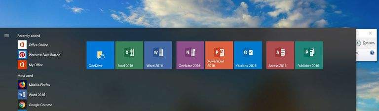 A screen shot of the Start menu on a Windows 10 machine with the Office apps showing.