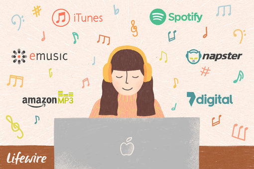 An illustration of a woman listening to music on her computer that was downloaded from music sites