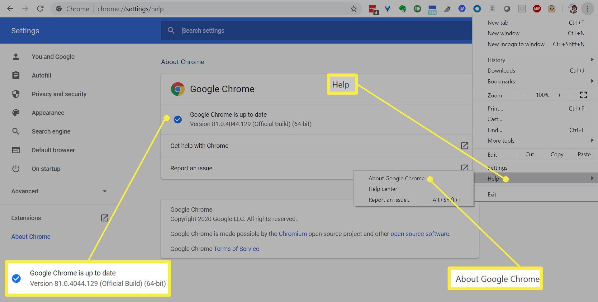 Checking Chrome version.