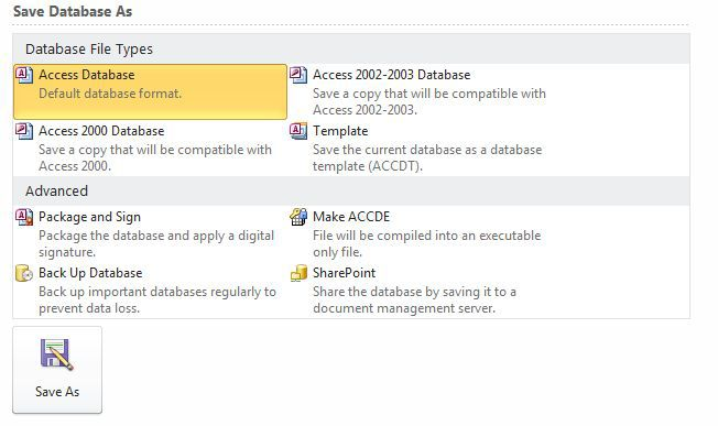 Access Database Screenshot
