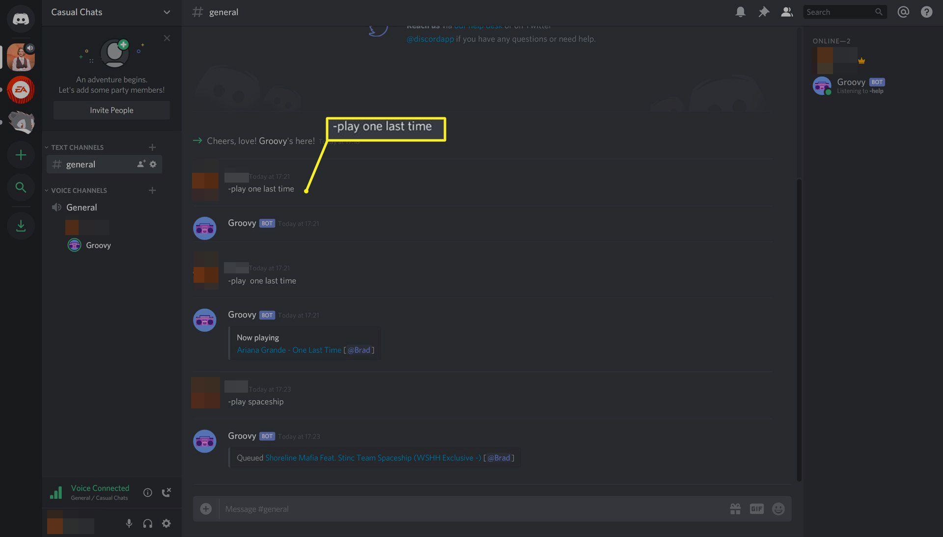 Groovy music bot running on Discord