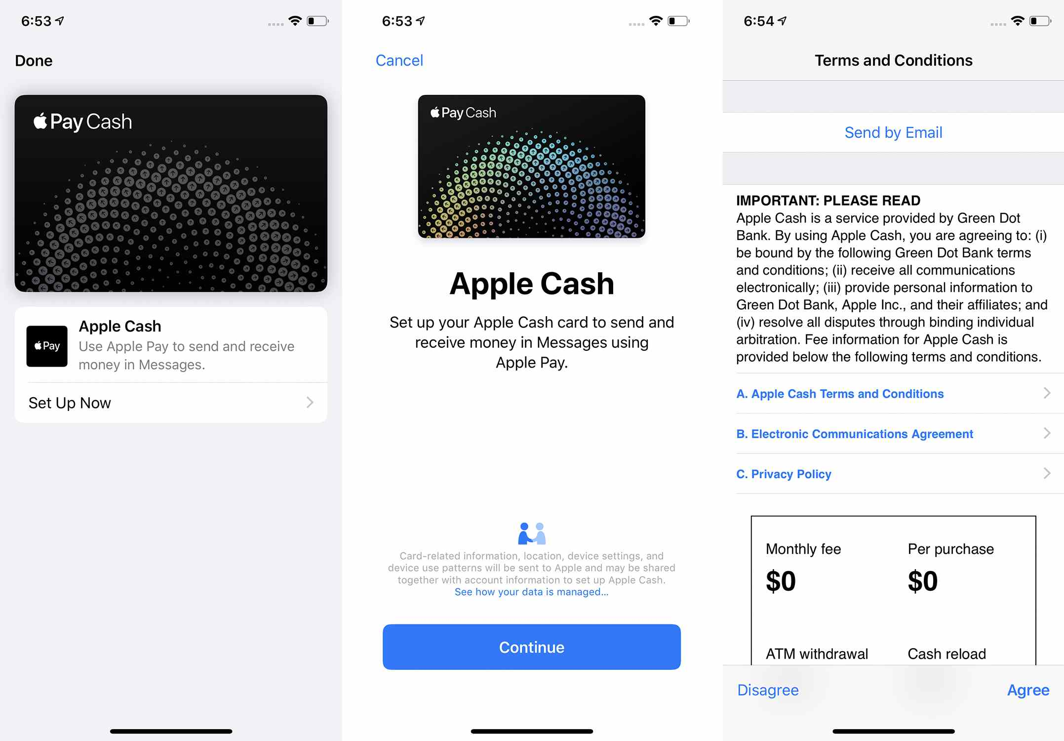 Screenshots of the first 3 steps of setting up Apple Pay Cash