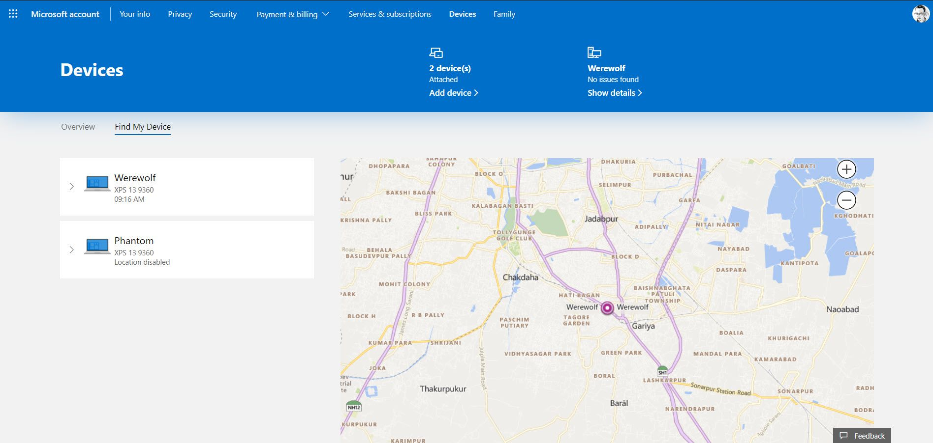 Microsoft account page with Find My Device