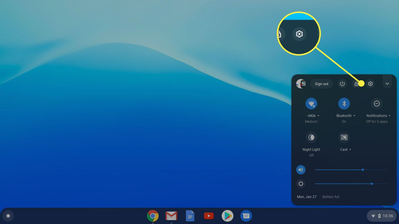 The Settings icon on a Chromebook