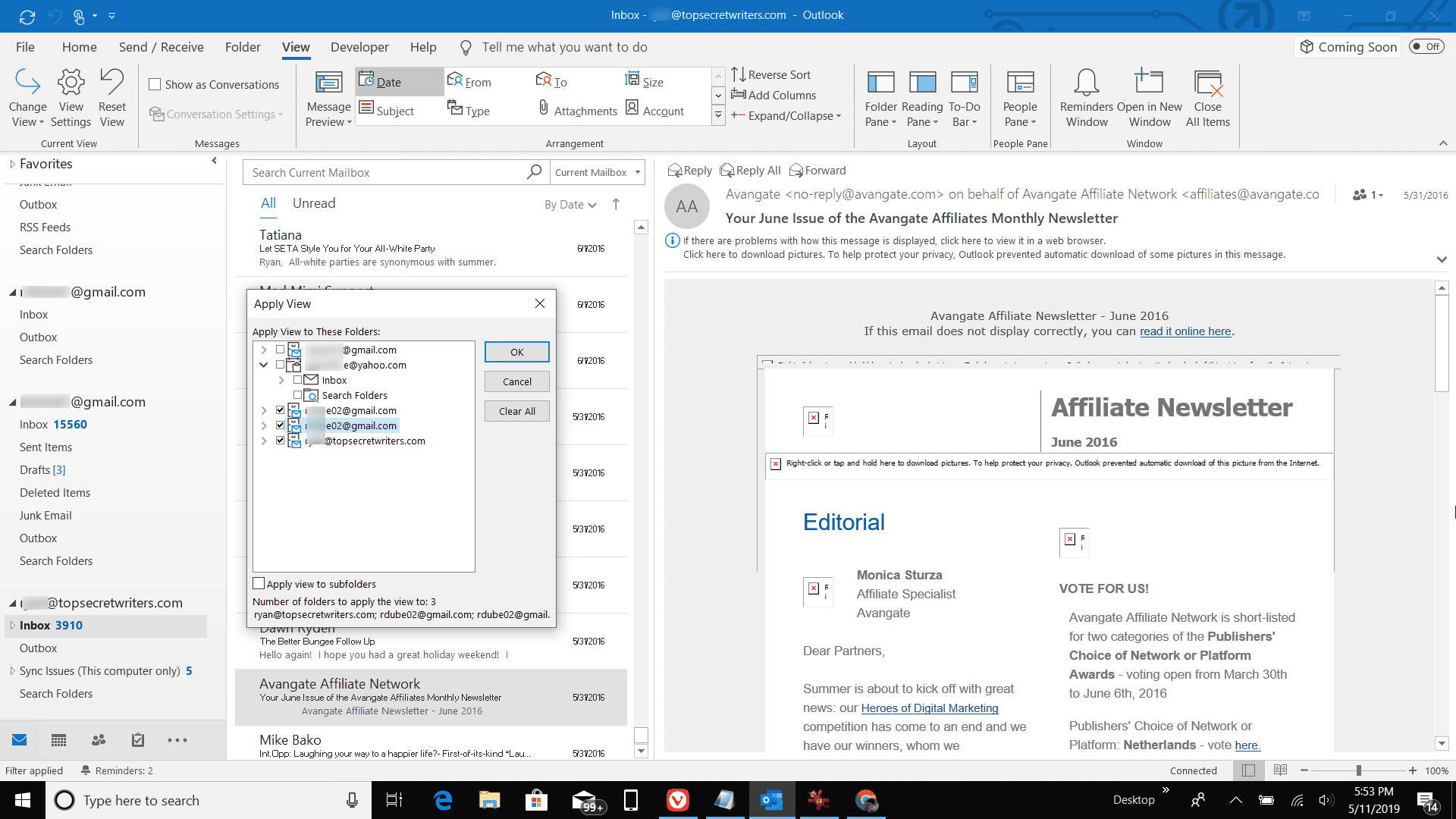 Screenshot of selecting folders to apply view in Outlook