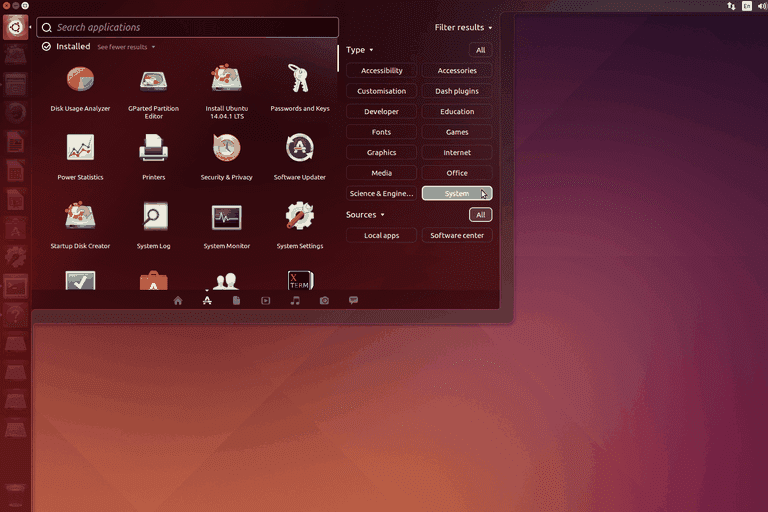Ubuntu Linux menu open with hard drive applications displaying