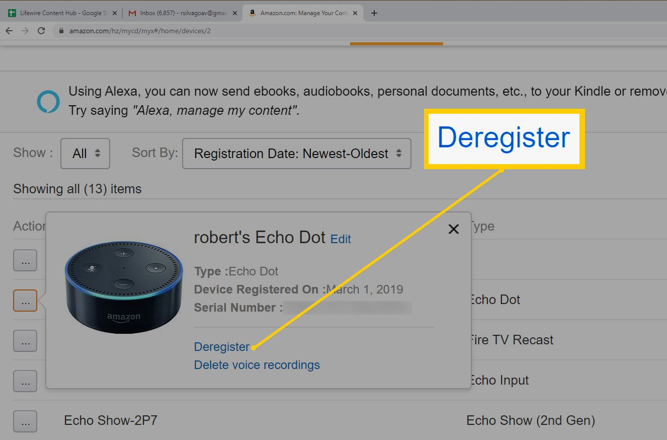 Amazon Web Browser Device and Content – Select Device to Deregister from List