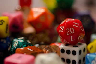 Closeup of 20 sided dice