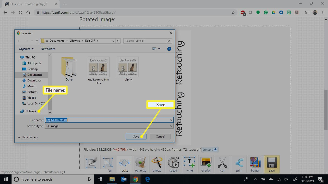 File name field and Save button highlighted in EZGIF