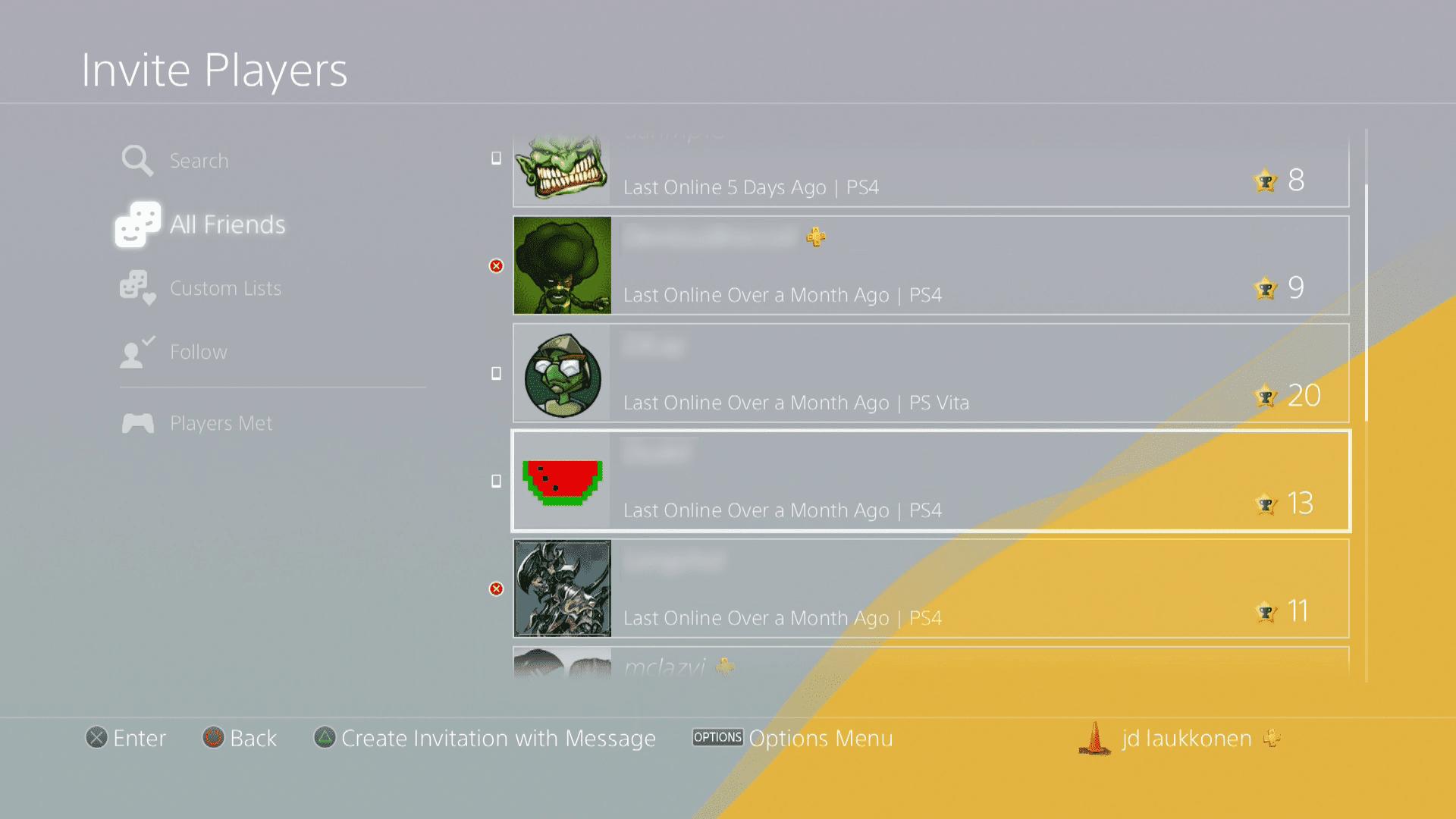 A screenshot of PS4 friends.