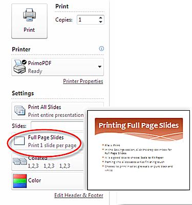 printing settings in powerpoint 2010