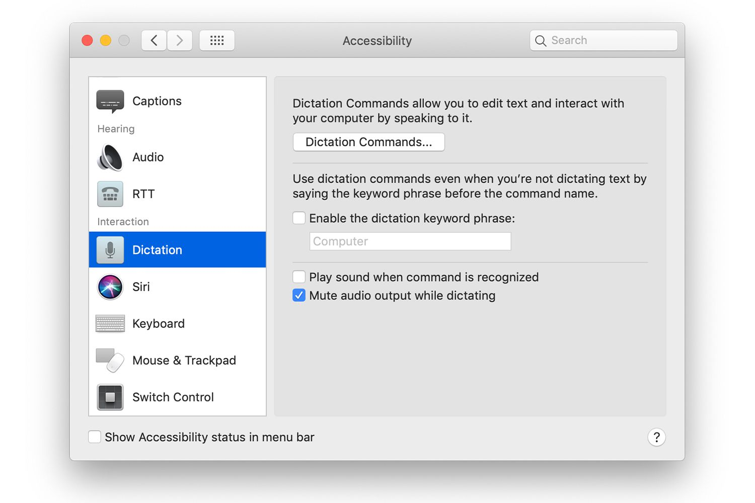 Accessibility System Preferences on a Mac