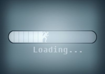 Photo of a loading message on a screen