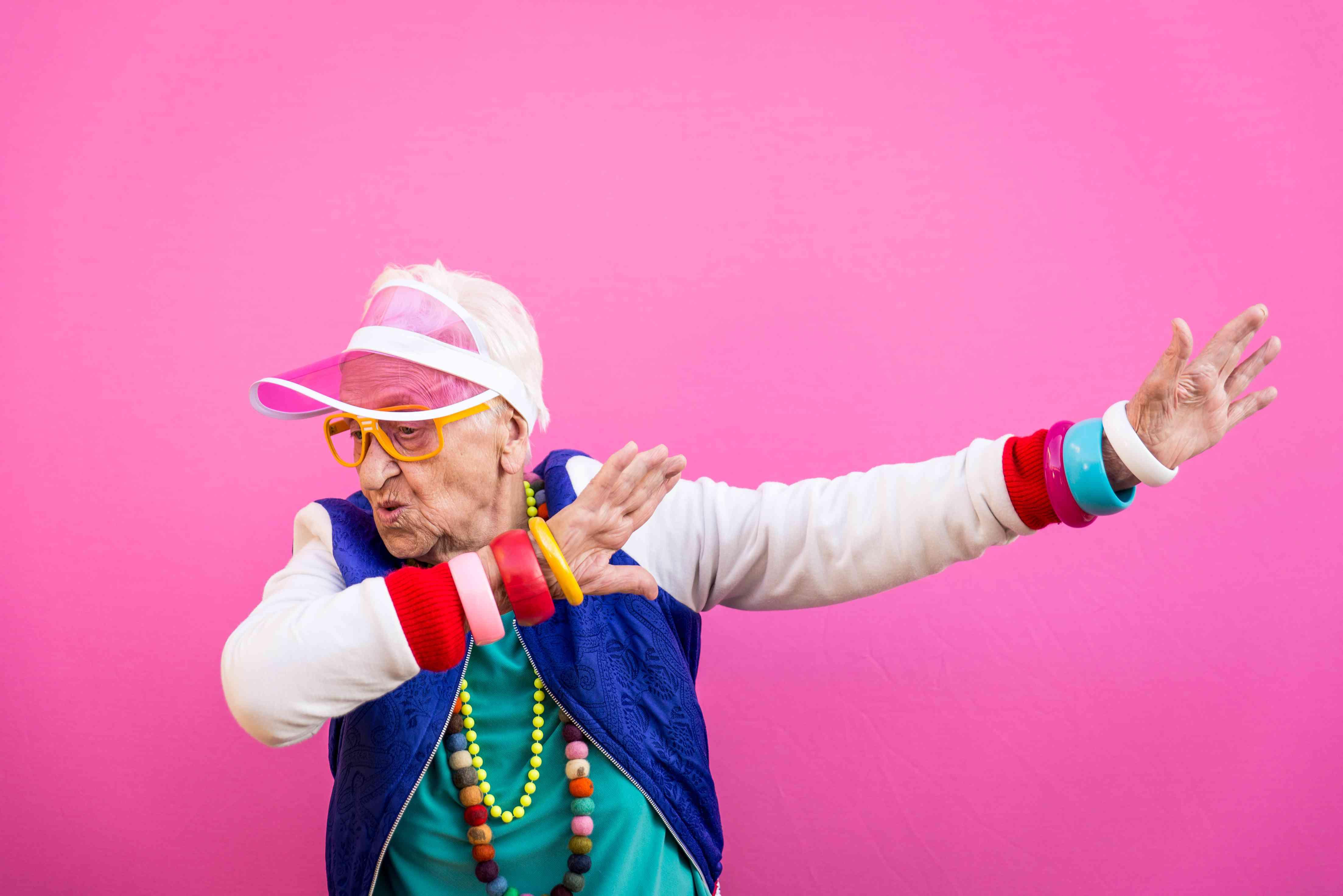 Older woman dabbing