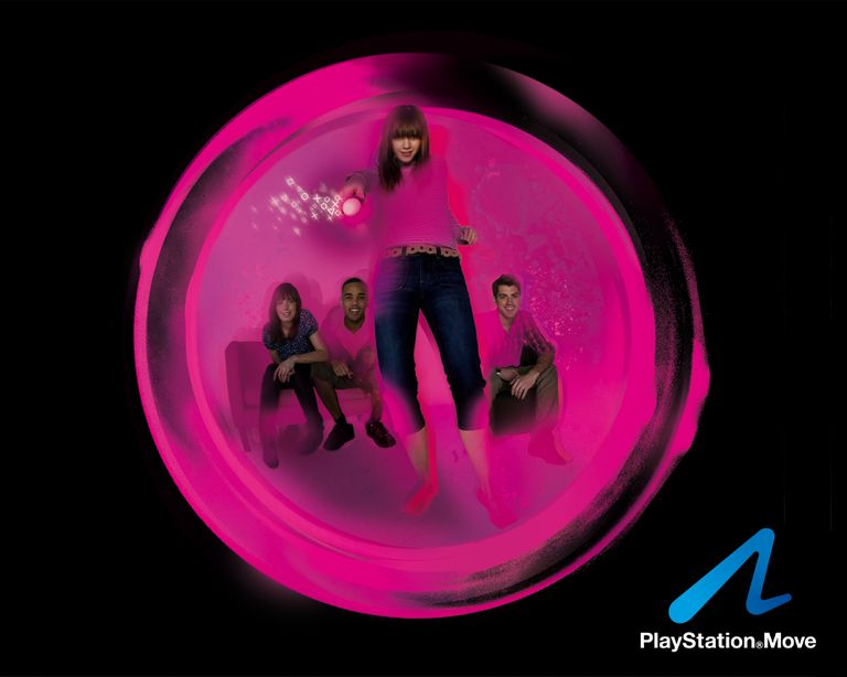 PS3 Move Motion Controller Pink Player - Group