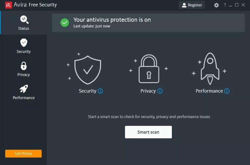 Avira antivirus program for Windows